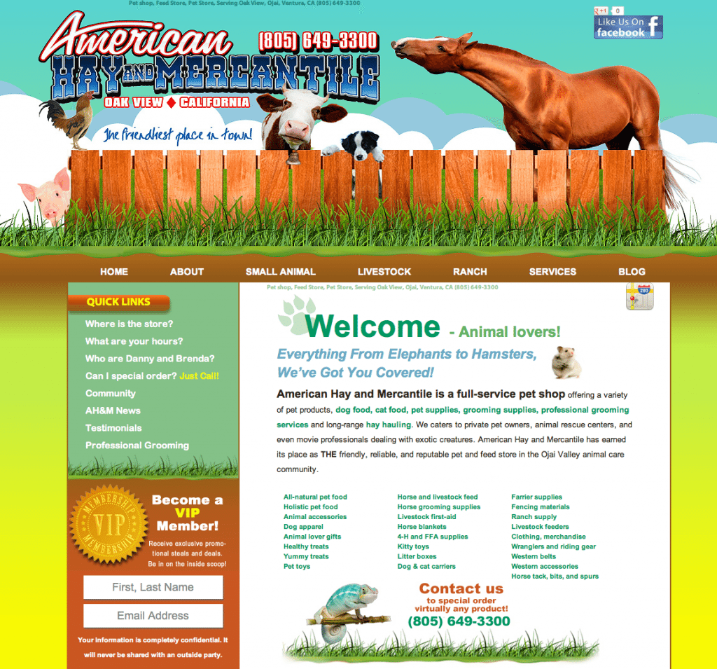 Web Design, American Hay and Mercantile
